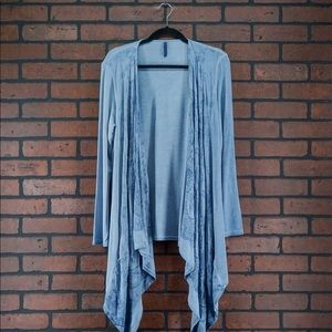 XCVI Blue Embroidered Waterfall Cardigan Size S